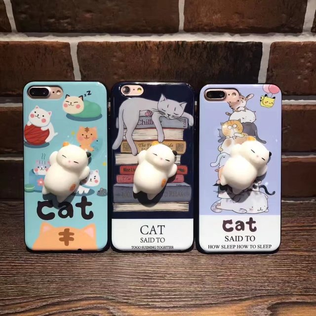 size 40 f2c16 49ee0 US $3.55 |3D Chubby Sleeping Cat Case for iPhone 7 7plus 6 6s 6plus Soft  TPU Back Case Cover Animal Sleeping Kitty Coque-in Fitted Cases from ...