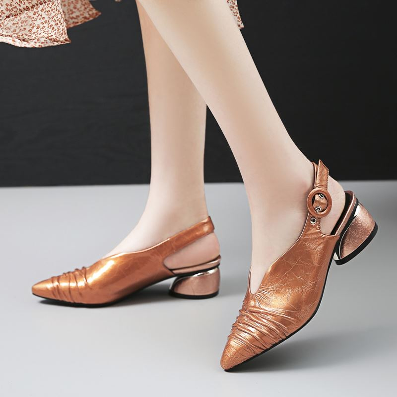 ALLBITEFO fashion retro genuine leather high heels women shoes high quality women high heel shoes dance girls shoes women heels-in Women's Pumps from Shoes    3
