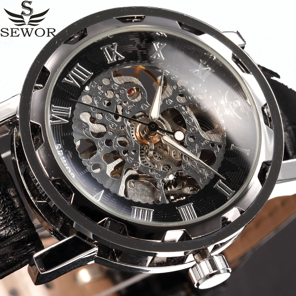 SEWOR Skeleton Mechanical Watch Men Designer Black Leather Vintage Business Fashion Hand Wind Wristwatch Relogio Masculino waterproof acrylic moving led welcome pedal car scuff plate pedal door sill pathway light fit for everest 2016 2017 2018
