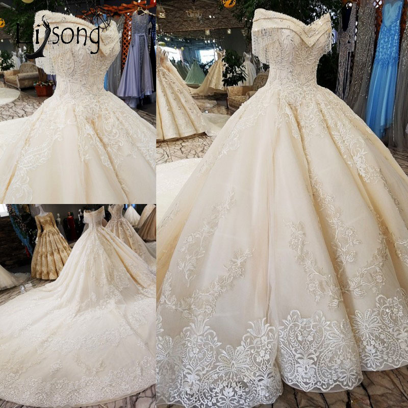 2019 Dubai Arabic Wedding Dresses Lace Appliques Off: Dubai Empire Wedding Dresses 2018 Vintage Lace Appliques