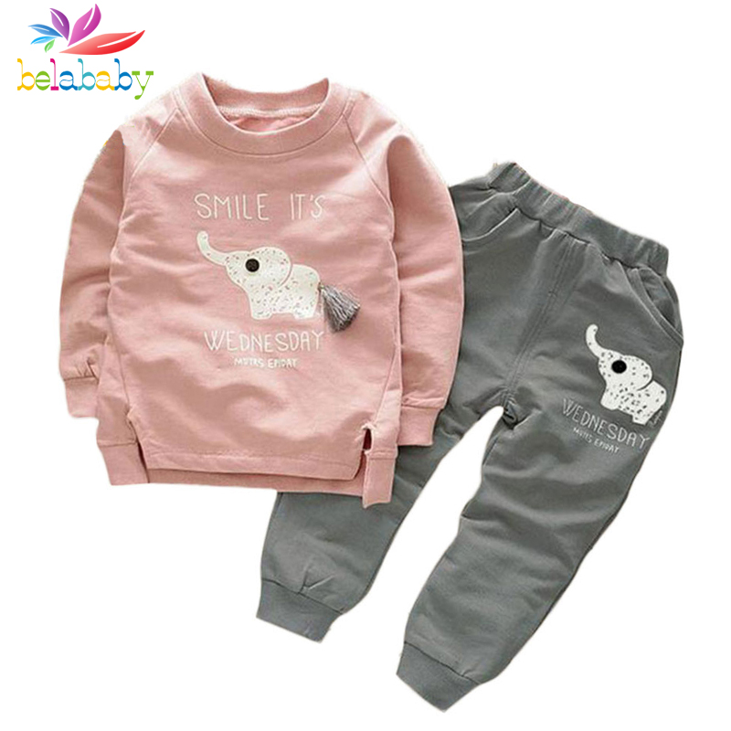 Belababy Girls Clothing Sets 2018 Spring Style Long Sleeve Elephant Cartoon T-shirt+Pants 2Pc For Boys Children Clothing