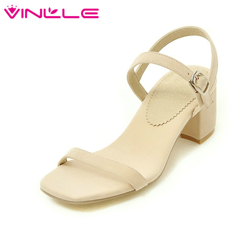 VINLLE 2017 Women Pumps Buckle Strap PU Flock Concise Square High Heel Two-piece Elegant Solid Ladies Summer Shoes Size 34-43 xiaying smile summer new woman sandals platform women pumps buckle strap high square heel fashion casual flock lady women shoes