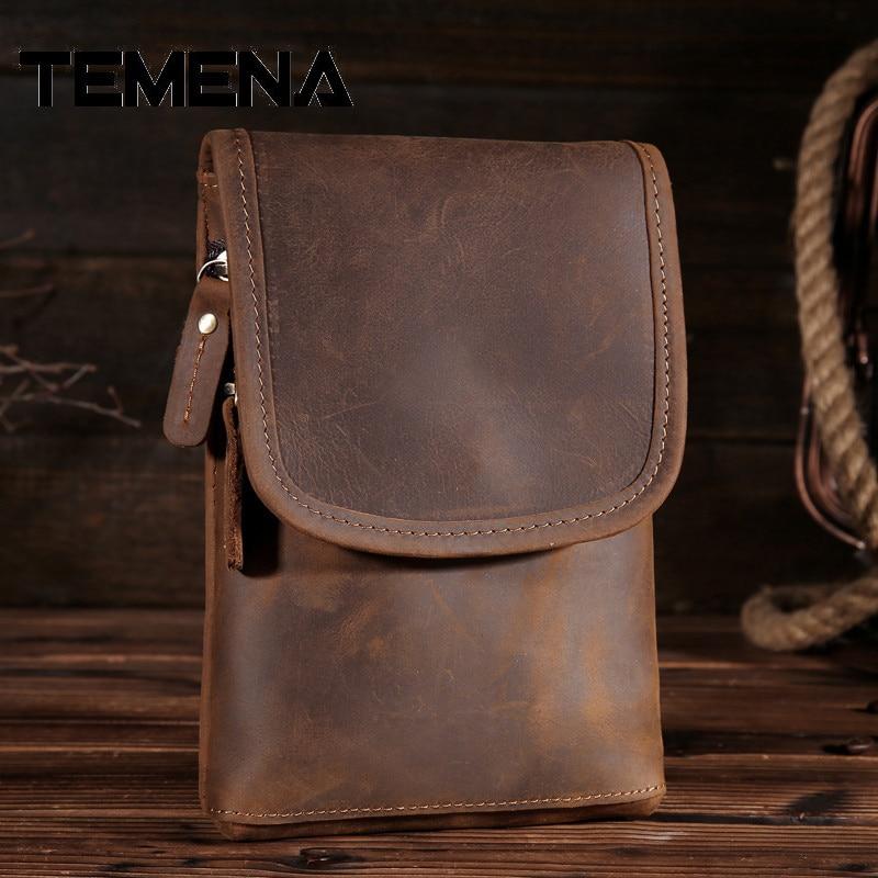 TE Для мужчин в Винтаж Пояса из натуральной кожи поясная сумка Для мужчин Путешествия Fanny Pack шлевки Hip сумка-кошелек на пояс кошелек кошельки …