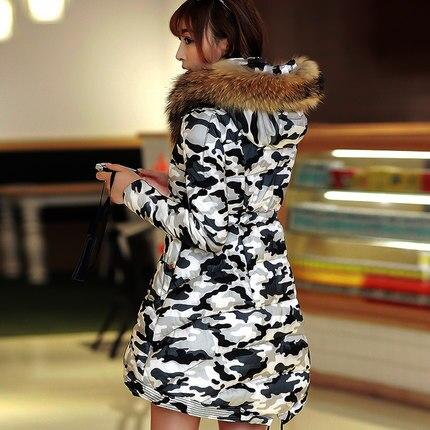 Hot Sale 2015 Women Big Fur Collar Camouflage Coats Fashion Winter Long Thicken Jackets Women Winter Coat Parkas H4615