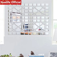 35x27cm 3D geometric pattern acrylic mirror stickers living room bedroom office TV sofa wall decoration wall stickers