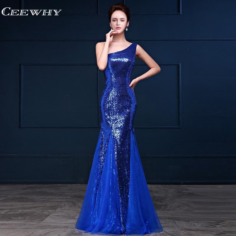 1eae4344674c2 CEEWHY Bir Omuz Akşam Gonw Kraliyet Mavi Örgün Abiye Sequinated Mermaid balo  kıyafetleri Abendkleider Robe De Soiree