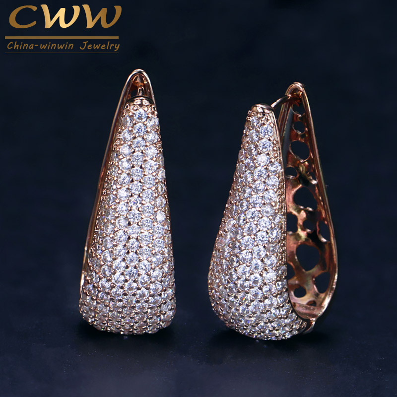 Cwwzircons completa micro pave zircônia pedra lindo rosa cor de ouro cz cristal longo grande argola brincos cz032
