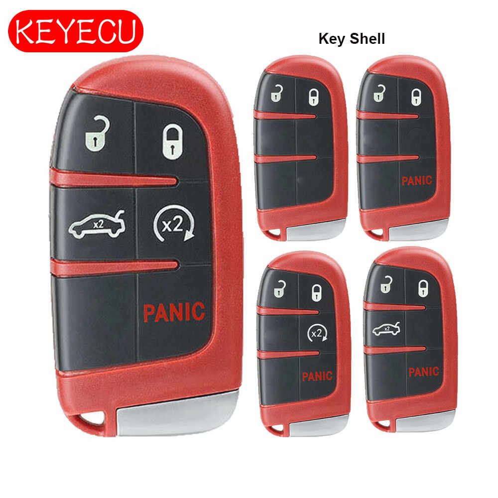 Keyecu สีแดง Remote Key Shell Case Fob สำหรับ Chrysler Jeep Dodge Challenger Charger Dart Durango 2011-2018