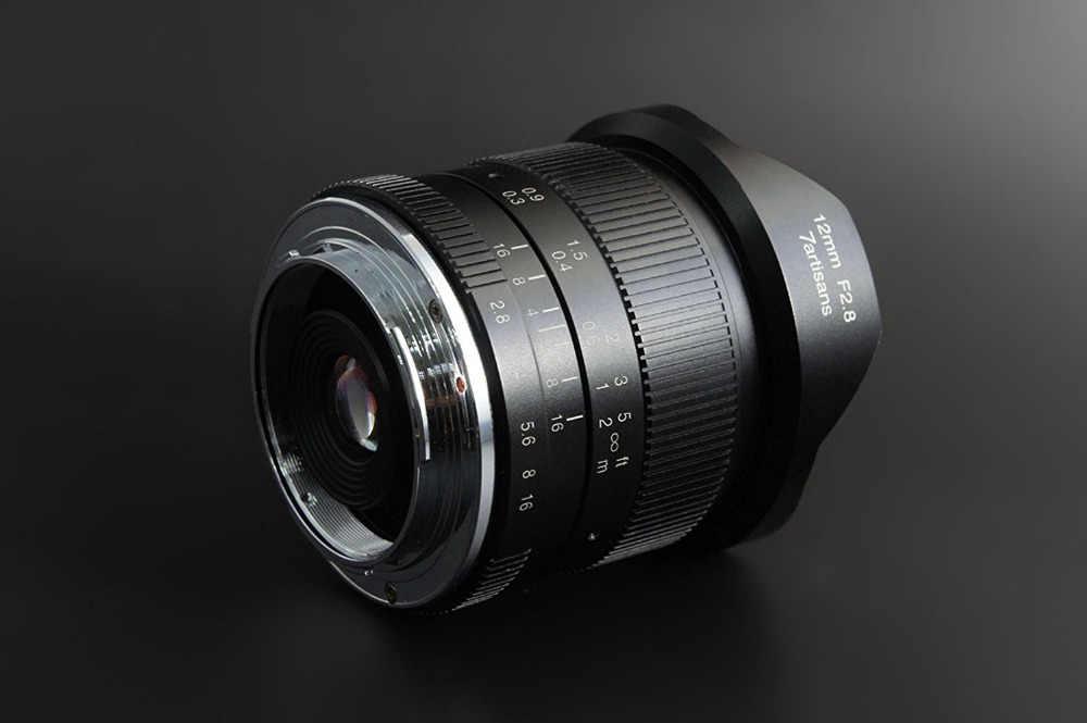 7 artesãos 12mm f2.8 lente ultra grande angular para canon eosm fuji fx m43 e-monte APS-C câmeras sem espelho a6500 a6300 xt2 lente