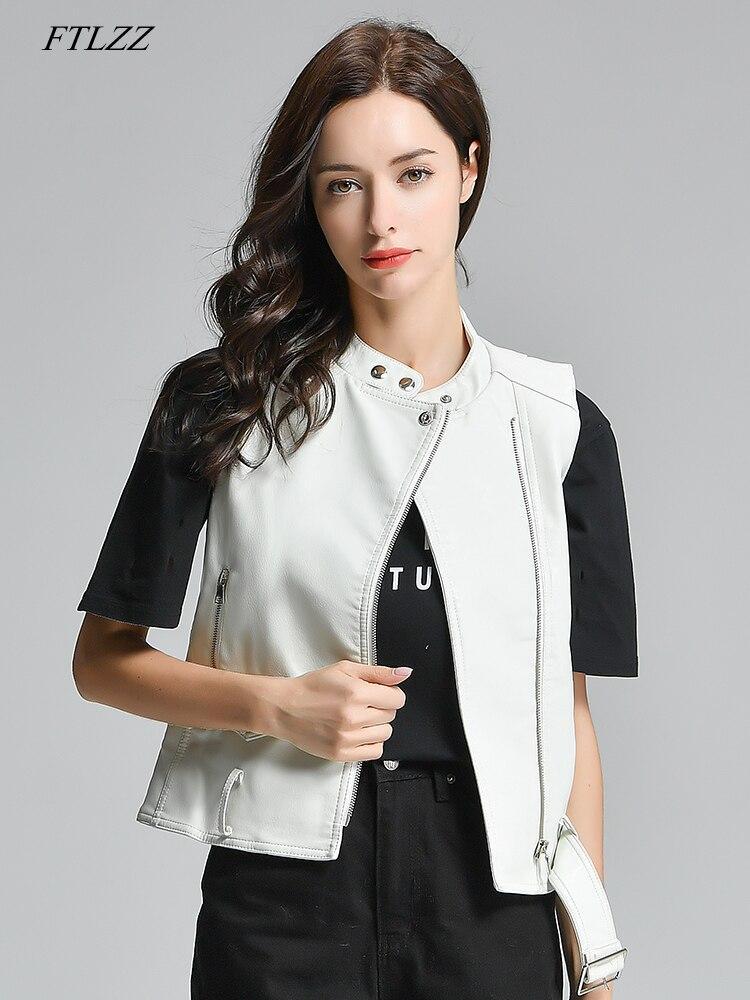 FTLZZ Women PU Vest Faux Leather Vests Black White Waistcoat Female Sleeveless Coat Motorcycle Jacket Short Outwear