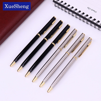 1PC Stainless Steel Rod Rotating Metal Ballpoint Pen Stationery Ballpen Blue Ink Office School Supplies