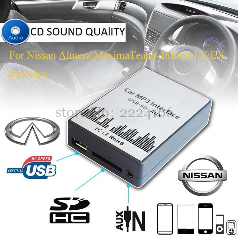 imágenes para SITAILE Adaptador de Música MP3 Del Coche AUX USB SD para Nissan Almera Maxima Teana Infiniti FX EX Sencilla Interfaz de la Instalación Del Coche-estilo