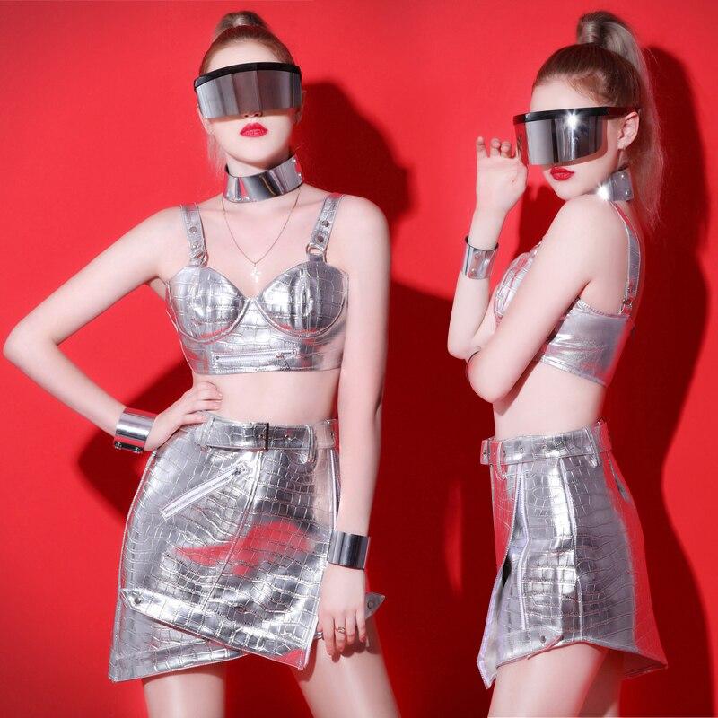 44a25e625ec32 Fashion Ballroom Wear Women's Stage Futuristic Costume Sexy Silver ...