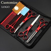Dostosuj LOGO 5 zestaw Ekskluzywny japonia Pet 7 cal dog grooming nożyce nożyczki do włosów cięcia przecinka fryzjer nożyczki fryzjerskie