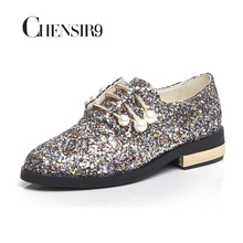 chensir9 genuine leather glitter women shoes flats loafers slip on shoes woman pearl size 34-40 ls01a