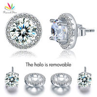 Wholesale 2 5 Carat Round Created Diamond Halo Removable Stud Solid 925 Sterling Silver Earrings Jewelry