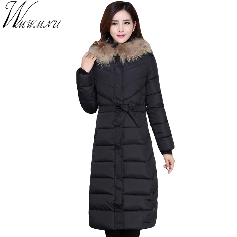Wmwmnu 2017 Women Coat Jacket long Woman Parka With A Rabbit Fur Winter Thick hooded Coat Women plus size New Winter ls615 pinky is black winter jacket women 2017 five colors hooded coat woman clothes winter jacket with pockets lady top coat hot