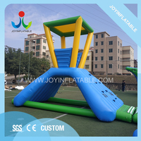 Outdoor ocean water park inflatable slide watchtower with roof for sale