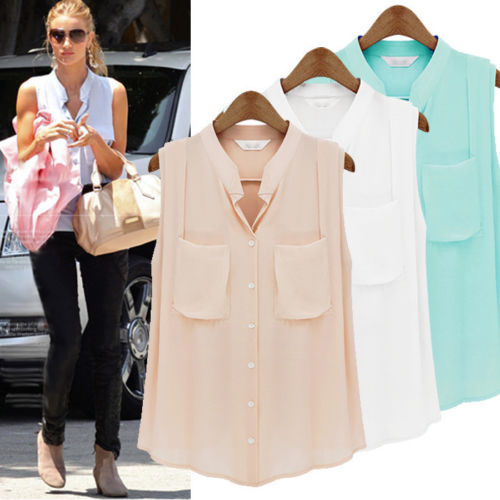 Online Shop Women Summer Sleeveless Casual Button Down Shirt ...