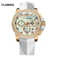 FLAMING FLAG Series High Quality 2 Models Miyota Quartz Watches Women Gold Wristwatches with Shell Dial Dress Watch Gifts