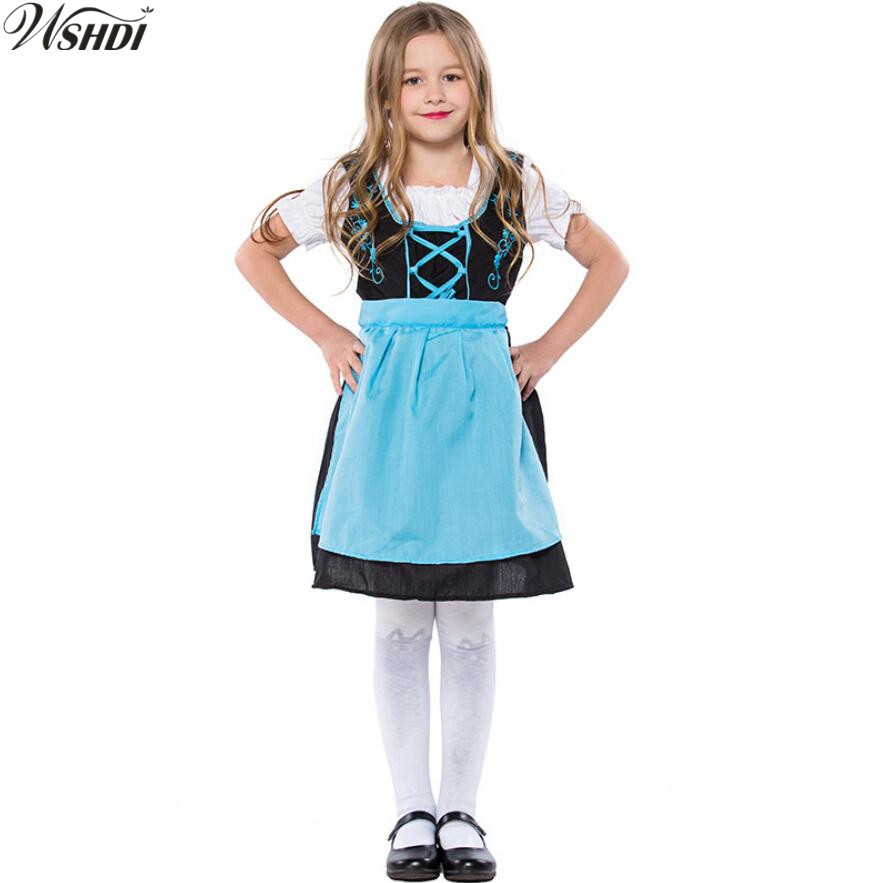 Children Girls Children Oktoberfest Costume German Heidi Dirndl Bavarian Fantasia Fancy Dress Halloween Beer Maid Uniform