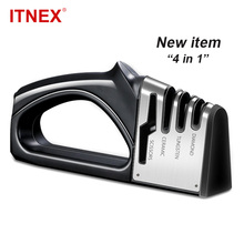 New Knife Sharpener 4 Stages Kitchen Knives Grinder Diamond Ceramic Stone Tungsten Scissors Tools