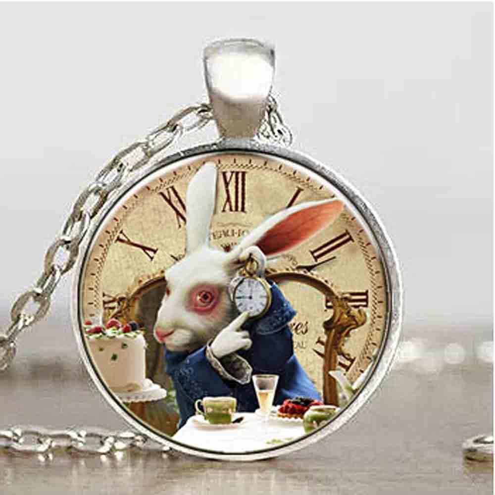 Αμερικανική ταινία Alice In Wonderland Ραμπέτ ρολόι φορά νέο κρεμαστό κόσμημα γοητεία Steampunk κολιέ γιατρός που 1pcs / παρτίδα των γυναικών mens vintage αλυσίδα