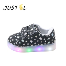 JUSTSL 2017 Spring Autumn new children 's shoes boys girls colorful LED flash light kid' s shoes non - slip fashion sneakers