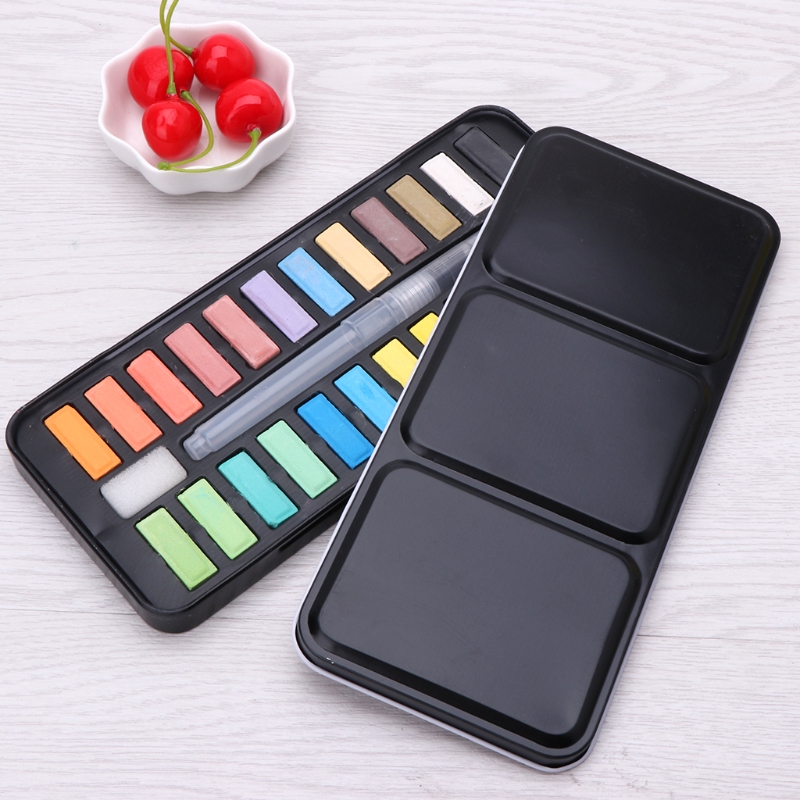 12/18/24 colors Solid Watercolor Paint Set Portable Drawing Brush acrylic Art Painting Supplies image