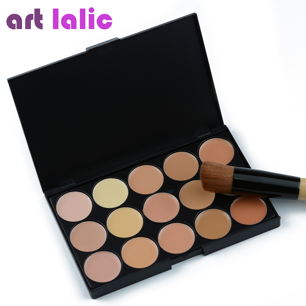 Art lalic Concealer Palette 15 Color With Brush Concealer Facial Face Cream Care Camouflage Makeup base Palettes Cosmetic 15 colors makeup concealer brush cream palette