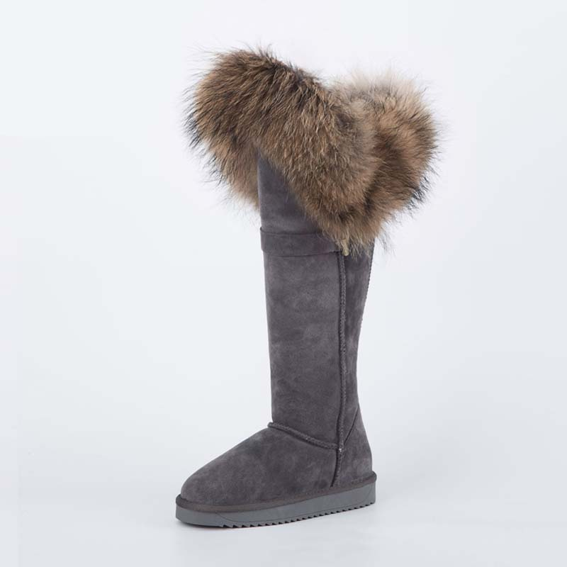 Free Shipping 2017 Fashion Botas Mujer High Snow Boots Women 100% Genuine Leather Natural Fox Fur Winter Shoes