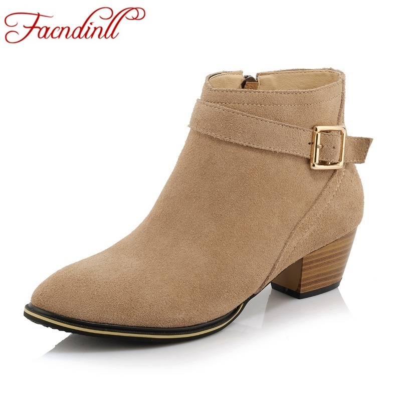 ФОТО 2016 autumn shoes new nubuck leather women ankle boots thick heels platform shoes buckle round toe riding boots zip casual shoes
