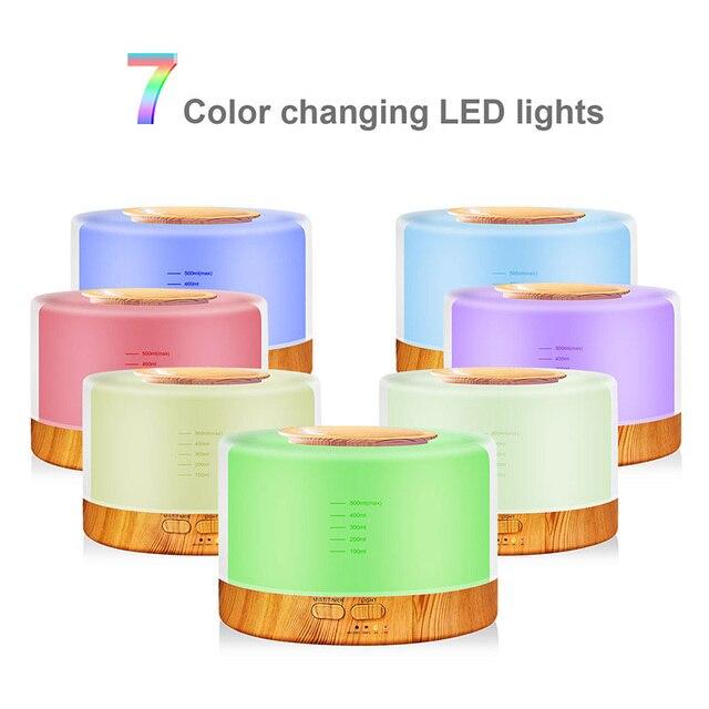 500 мл пульт дистанционного управления ультразвуковой увлажнитель воздуха аромат эфирные масла диффузор очистки воздуха с 7 цветов Изменение светодио дный лампы