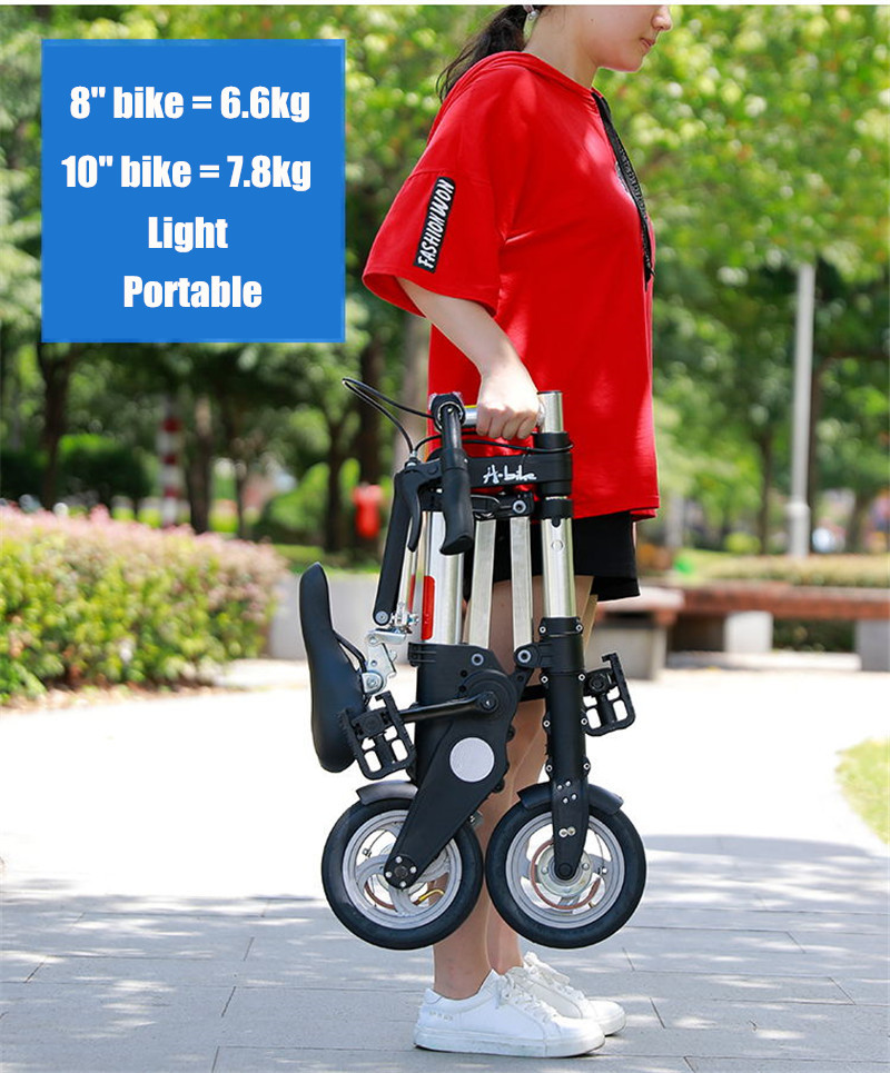 "HTB1QNuXXX67gK0jSZPfq6yhhFXa2 Brand New Ultra Light  8""/10"" Mini Folding Bike Bicycle Portable Outdoor Subway Transit Vehicles Foldable Bicicleta"