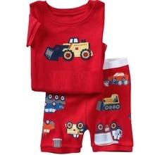 2015 Muchachos Del Verano Pijamas de Manga Corta Camisetas Pantalones Cortos Pantalones de Pijama ropa de Dormir 100% Algodón Boy Pijama Rojo Vehículo