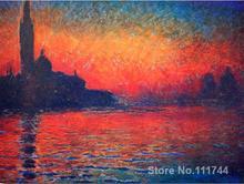 canvas art,Twilight-Claude Monet reproduction Paintings,Handmade,High Quality