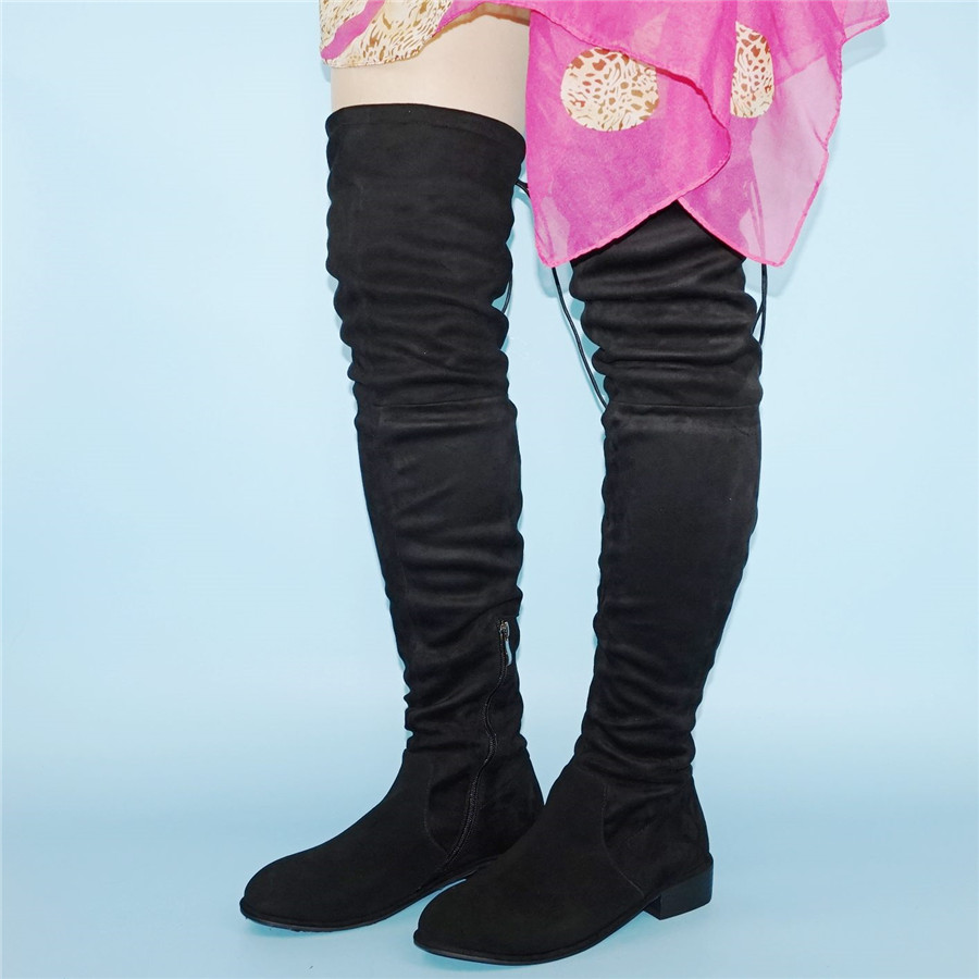 NAYIDUYUN New Women Suede Round Toe Thigh High Boots Stretchy Tall Slim leg Booties Flat Heel Oxfords Black Grey Army Green in Over the Knee Boots from Shoes
