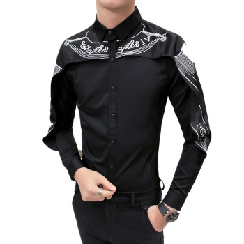 Long Sleeve Slim Fit Gothic Shirt Men Black White