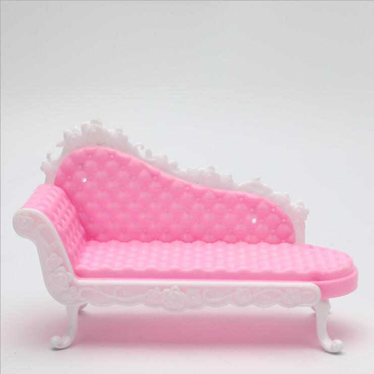 Fashion Chaise Lounge Barbie Sofa Princess Accessories Furnitures Dreamhouse Sofa Chair Furniture Toys Pretend Playhouse