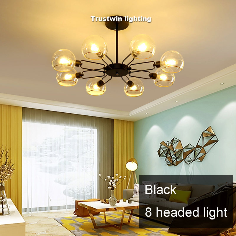 Easy Bulb Installation Replace Iron Glass Chandelier Light Lamp Fixture Led E14 Ceiling Silver Black Golden Hanging In Chandeliers From Lights