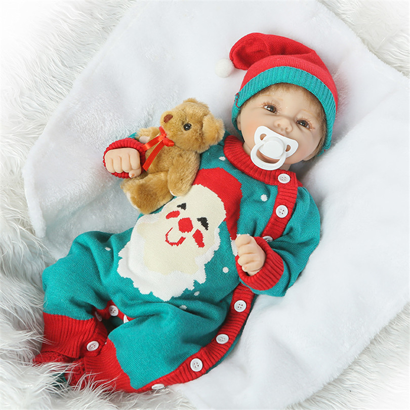 Lovely Silicone Baby Dolls With Santa Claus Clothes Children Christmas Gifts Brown Eyes Lifelike Alive Reborn Simulation Doll santa claus with gifts flowers printed pillow case