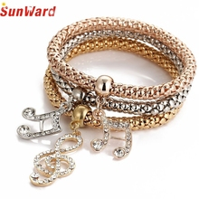 OTOKY Hot Sale 2018 3pcs Charm Women Bracelet Gold Silver Rose Gold Rhinestone Bangle Jewelry For Gift   Mar21 все цены