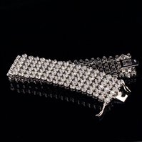 Authentic 100% 925 Sterling Silver Link Chain Bracelet Cubic Zirconia Micro Pave CZ Crystal Bracelet Jewelry