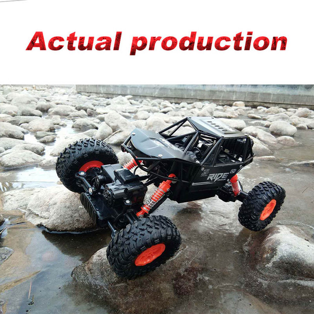 alloy 2.4G rc car 1/16 10km/h Off-Road Drive Bigfoot cars electric four-wheel climbing Double Motors Vehicle toys car for gift 2