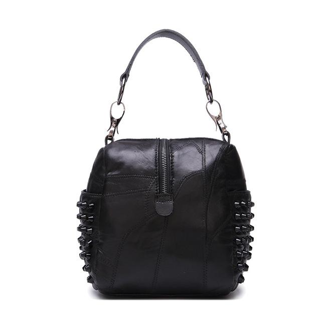 Classical Women Rock Puck Style Women's handbag Patchwork Lamb Sheepskin Female small cross-body bag with Rivet high quality