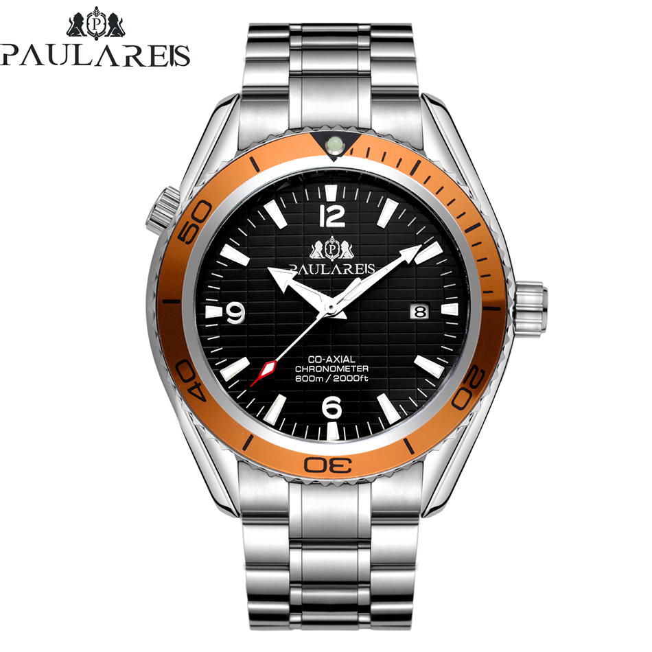 Automatic Self Wind Mechanical Stainless Steel Strap Simple Orange Blue Bezel James Bond 007 Style Date Business Men Watch