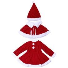 1 Unidades lindo Girls Adorable Navidad Santa traje de vacaciones Festival  Cosplay señora Claus ropa vestido con sombrero del Ca. 1e1e6f00f52