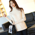 New Autumn Winter Women Fashion Cotton Elastic Sweater Lady Knitted Long Sleeve Turtleneck Twisted Black White Pullovers Femme