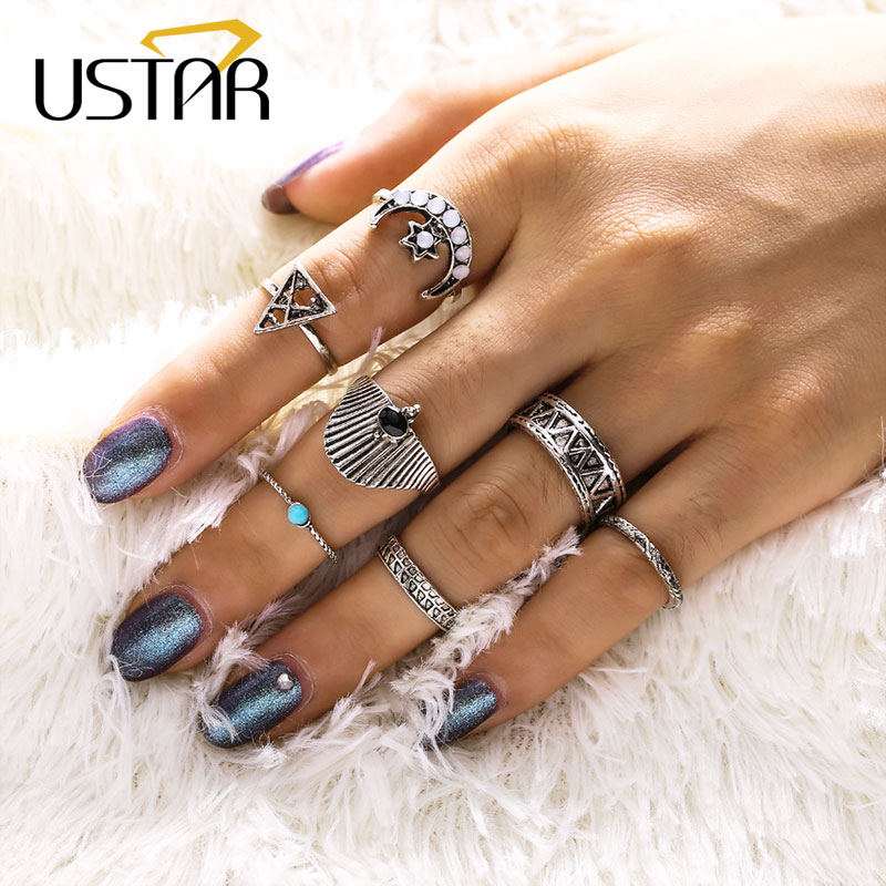USTAR Vintage Moon Star Midi Finger Rings For Women Boho Antique Silver Color Green Stone Knuckle Bohemia Rings set Jewelry Anel