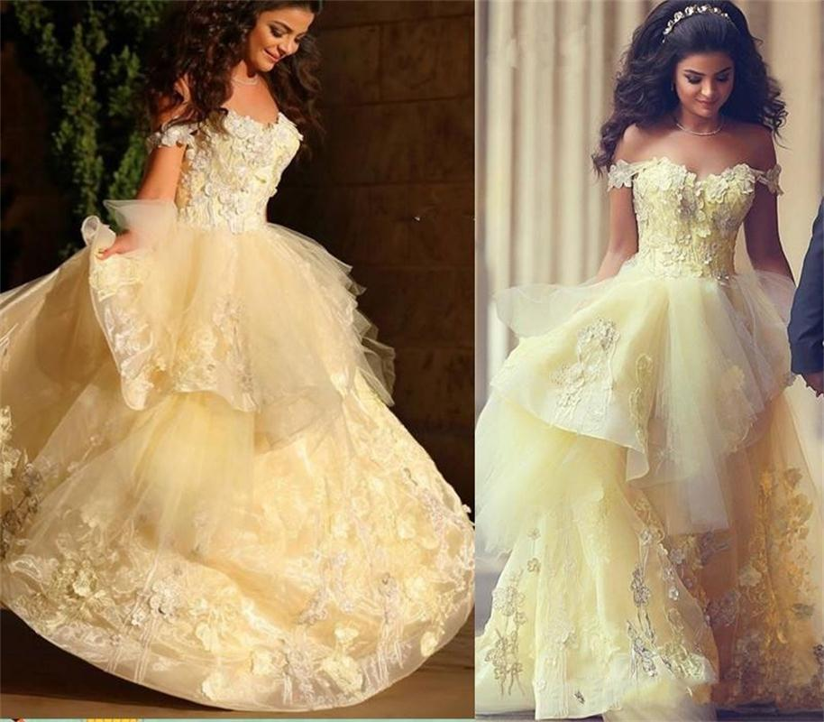 Robe De Mariage Luxury Arabic Princess Light Yellow Wedding Dresses Bridal Dress Ball Gowns 2017 Vestido Noiva Custom Made In From